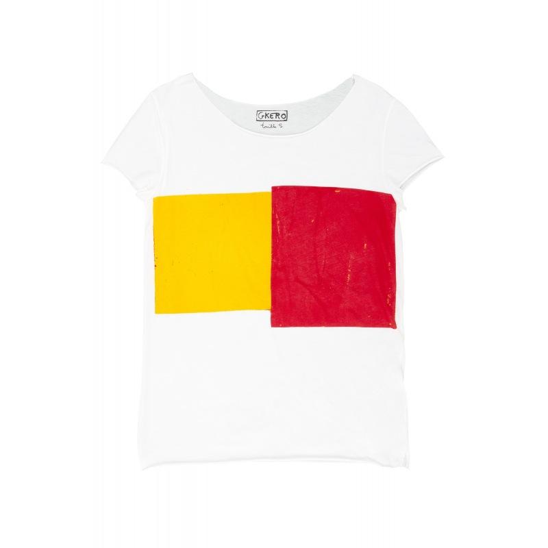 Tshirt en Coton Jaune Rouge Géométrique
