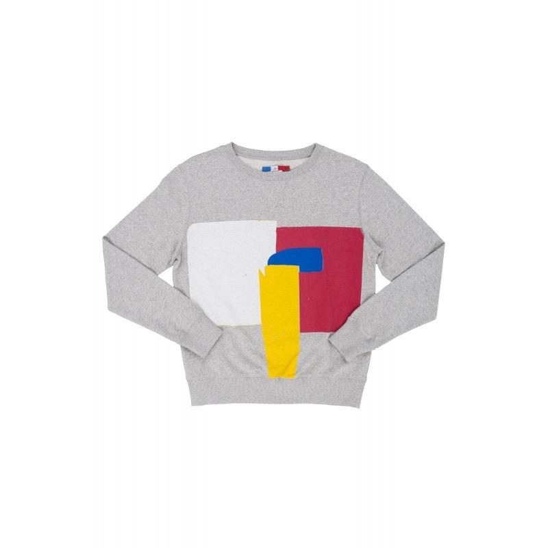 Sweatshirt en Coton Blanc Rouge Géométrique