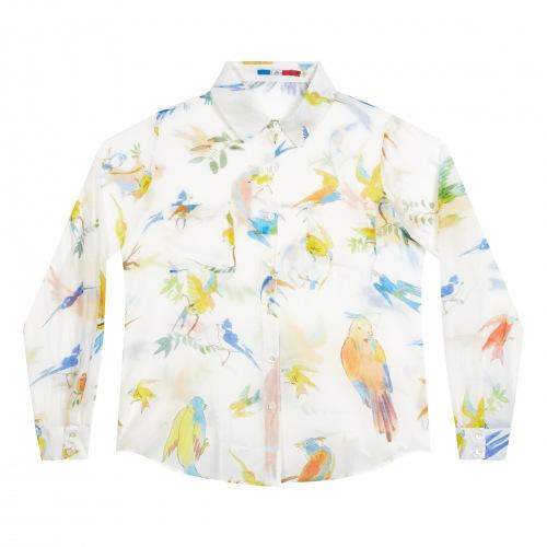 Chemise en Coton Soie Flying Birds