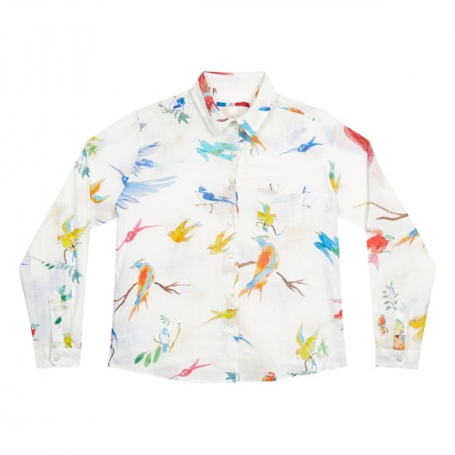 Chemise en Lin Flying Birds